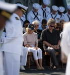"Carol Armstrong, wife of Neil Armstrong, Eric ""Rick"" Armstrong, son of Neil Armstrong, and other family members are seen bowing their heads during the Armstrong burial at sea service aboard the USS Philippine Sea (CG 58), Friday, Sept. 14, 2012, in the Atlantic Ocean"