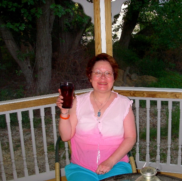 Donie toasting her new Gazebo b