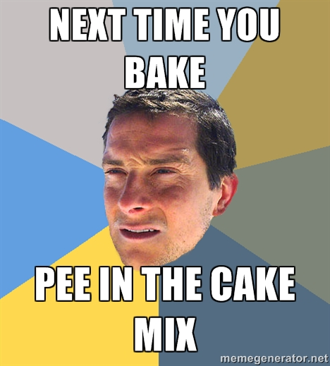 pee in the cake mix