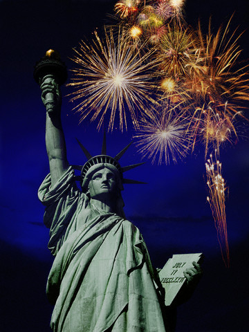 Fireworks Behind Statue of Liberty --- Image by © Creasource/Corbis